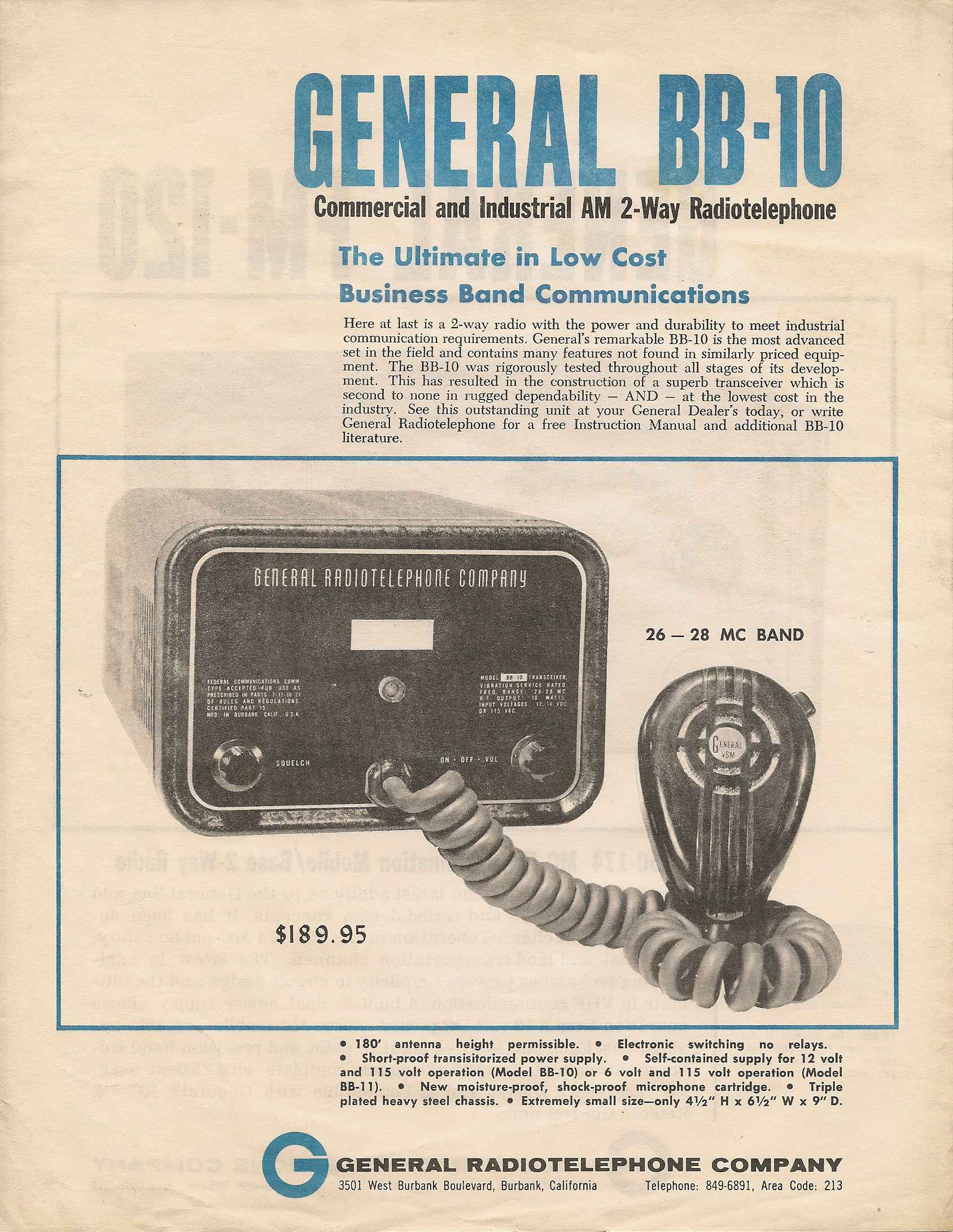 General Radio Telephone BB-10 and BB-11 Advertisement - courtesy of Paul SWL# 45