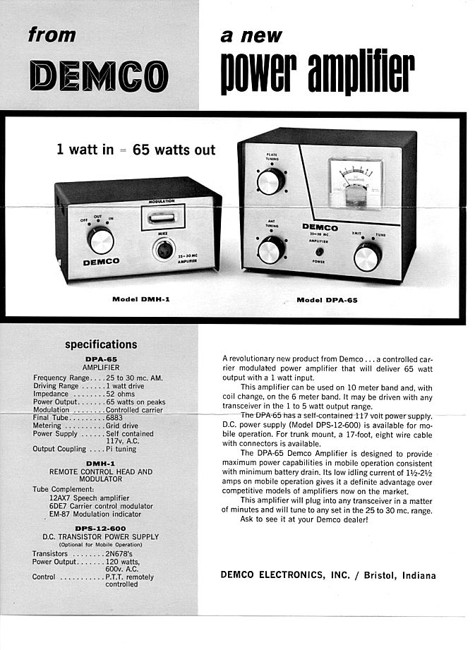 Demco Amplifier - advertisement