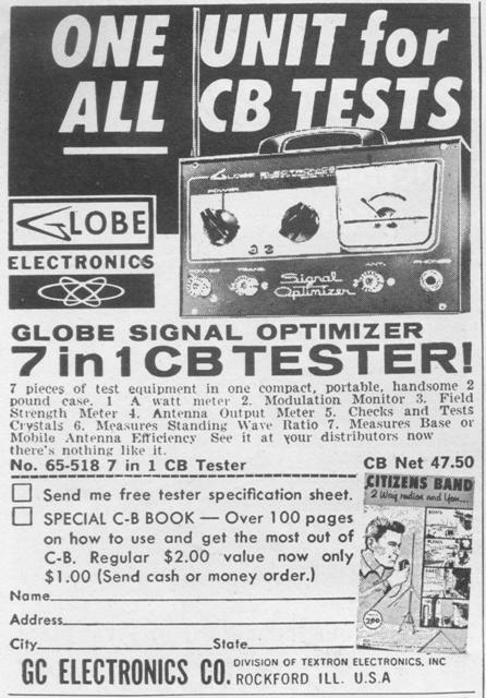 Globe Signal Optimizer Ad PopElec Jan1963