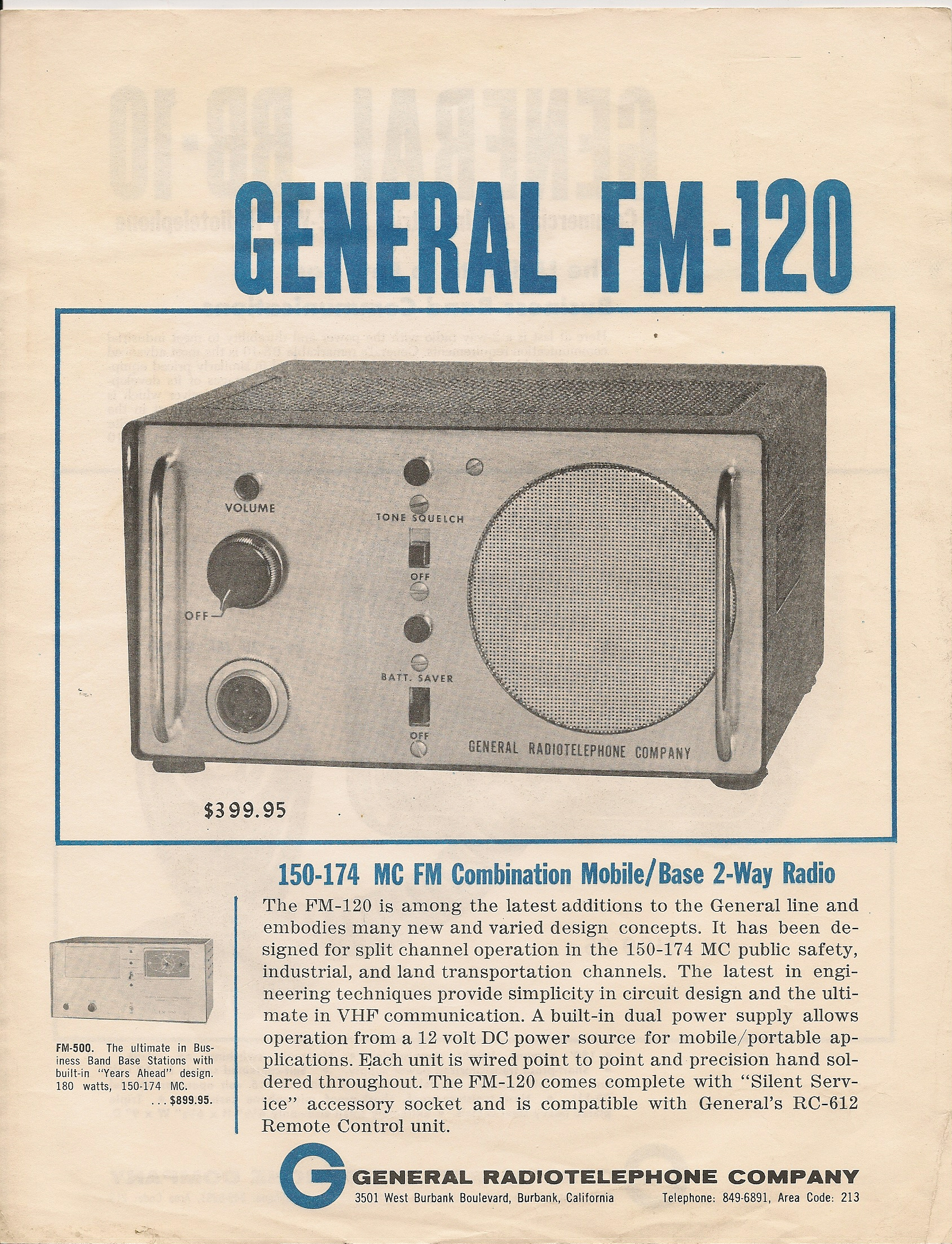 General Radiotelephone FM-120 and FM-500 Advertisement - courtesy of Paul SWL# 45