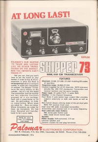 Palomar Skipper 73 advertisement CB Magazine Feb 1974 - Courtesy of Paul SWL #45