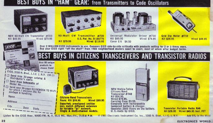Eico Ad Electronics World 1961