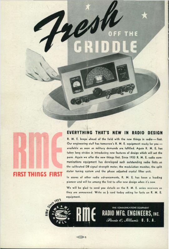 Radio Manufacturing Engineering Advertisement from CQ Magazine January 1945
