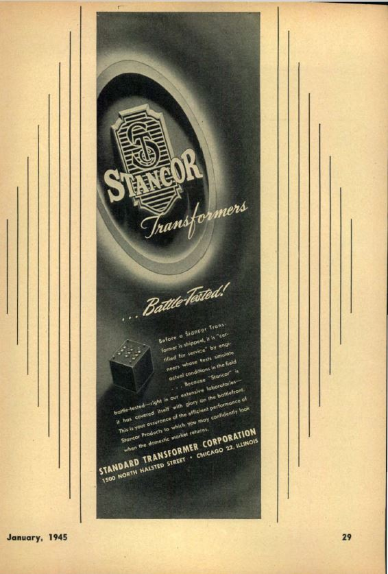 Standard Transformer Corporation (STANCOR) Advertisement CQ Magazine January 1945