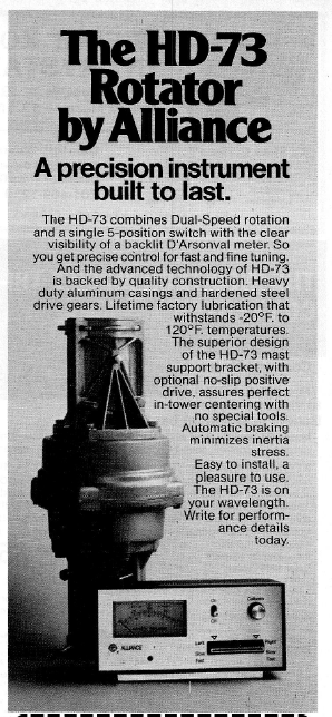 Alliance HD-73 Rotator - Ad 73 Magazine June 1981