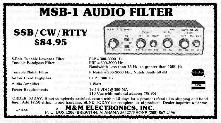 M&M Electronics MSB-1 Audio Filter - Ad from 73 Magazine June 1981